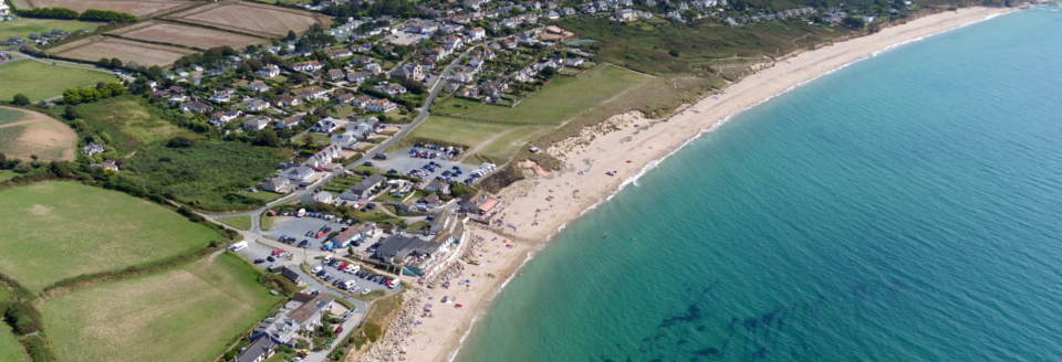 Aerial view of Praa Sands beach in Cornwall.