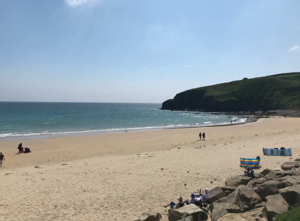A lovely view of the beach from the quieter Rinsey end, just a short walk from the campsite.
