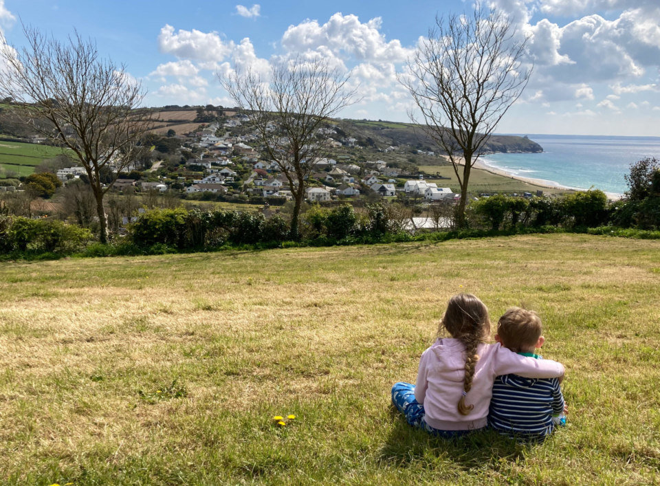 View from our camping pitches of Praa Sands Cornwall.